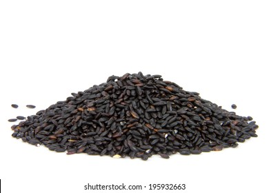 close up of black rice isolated on white background
