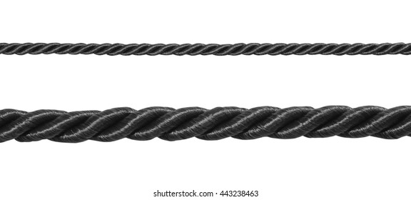 close up black of rope isolated on white background