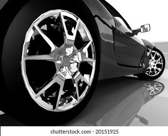 close up black sport car over reflection