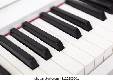Close up of black and white piano keys. Shallow deep of field.
