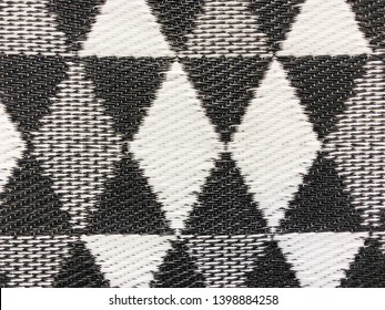 Close up black and white plastic weave mat texture background