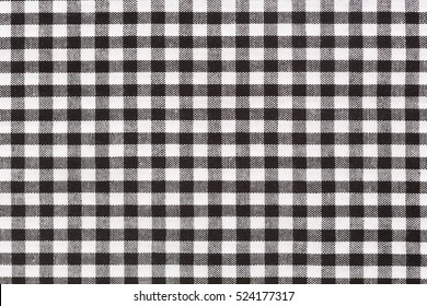 Close up of black and white tablecloth pattern.