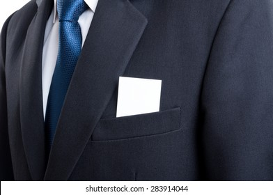 Close up with blank business card in business man suit jacket pocket