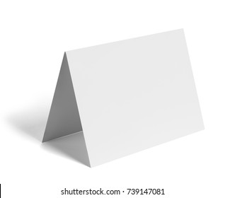 close up of a  blank folded leaflet or a desktop calendar white paper on white background