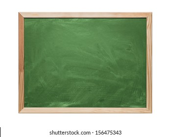 Close up of blank green chalkboard, blackboard isolated on white background with copy space