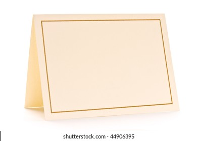 Close up of blank greeting card on white background