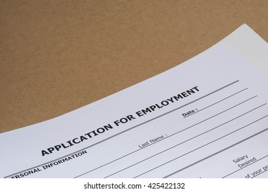 close up blank job application form