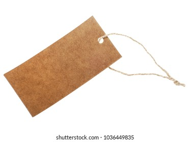 Close up of a blank price label on white background. Tag on white background.
