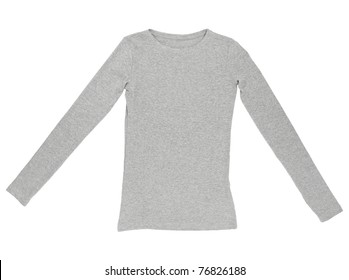 close up of a blank t-shirt on white background