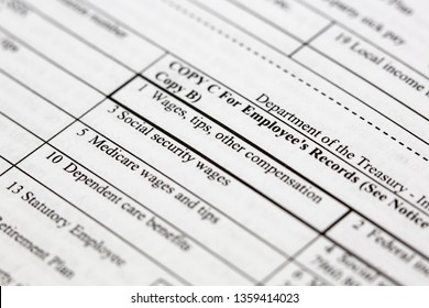 Close up of a blank W2 tax form