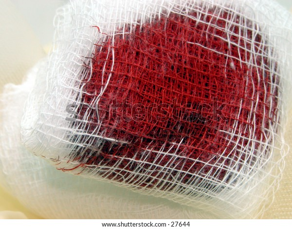 Close up of bloody gauze textures