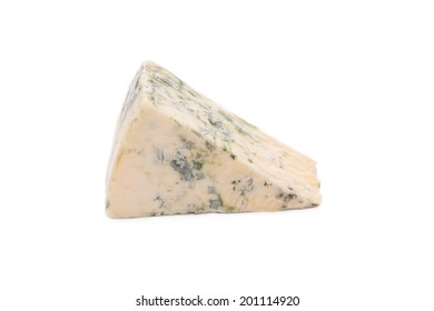 Close up of blue cheese. Isolated on a white background.