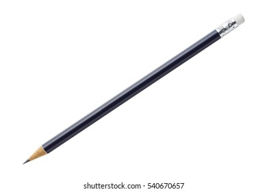 Close up blue color wood pencil isolated on white with clipping path