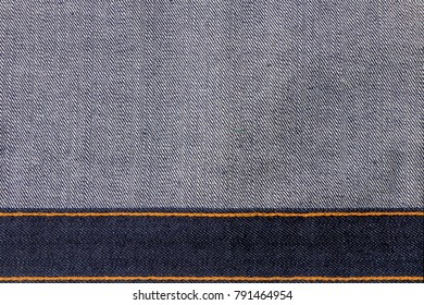 Close up blue denim jeans texture background with blank space