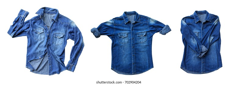 Close up blue denim shirt jeans isolated on white background