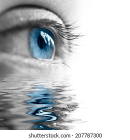 Close up of a blue eye, water reflections