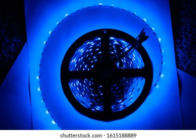 Close up of blue LED strip in coil