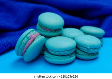 Close up of blue macaroon sweet dessert food