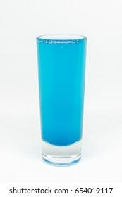 Close up blue soda on white background. Beverage concept.