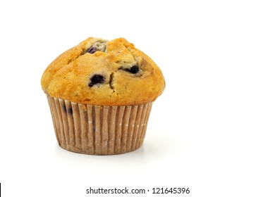 close up of blueberry muffin isolated on white background