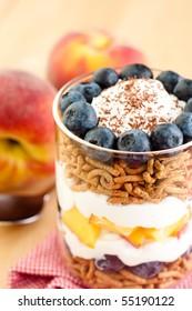 Close Up Blueberry Parfait with Greek Yogurt,Peaches, and Granola