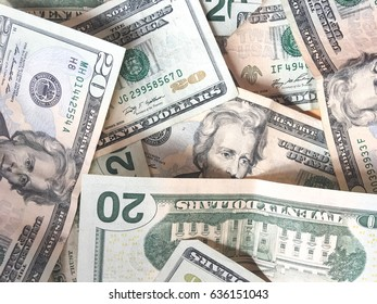 Close up blur image of dollar banknotes background / Copy Space - Top View