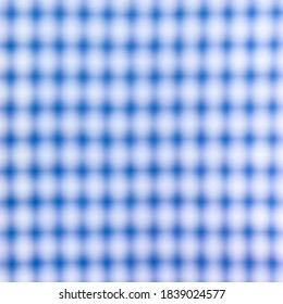 Close up of a blurred blue and white cross pattern and texture, as chess table. Blue and white chess table.