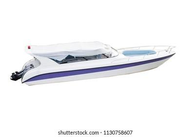 Close up boat on white background.