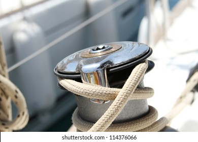 Close up of a boat winch on yacht
