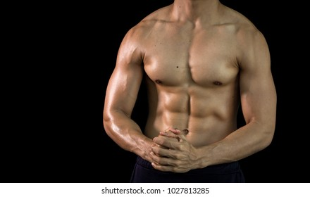Close up bodybuilder muscular beautiful body on copy space background