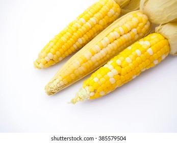 Close up boiled corns on white background