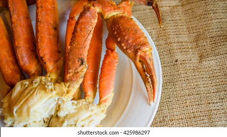 Close up Boiled snow crab isolated on wooden background
