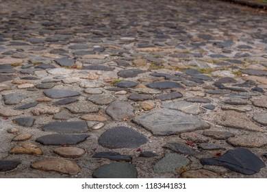 Close up bokeh shot of historical cobblestone streets of Charleston, South Carolina