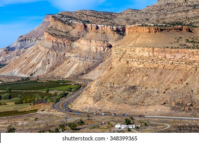 Close up of the Book Cliffs above Grand Junction, Colorado