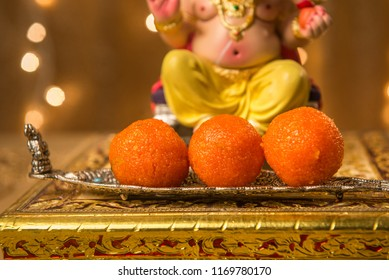 Close up of Boondi laddu - offering of Prasad to lord Ganesha.