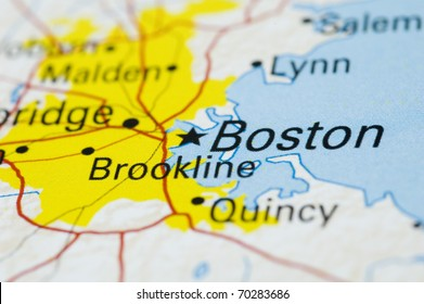 Close up of Boston on Map. Map is Copyright Free Off Government Website - Nationalatlas.gov