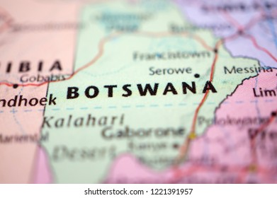 close up Botswana on map