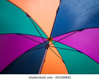 Close up bottom view of a colorful umbrella on a rainy day