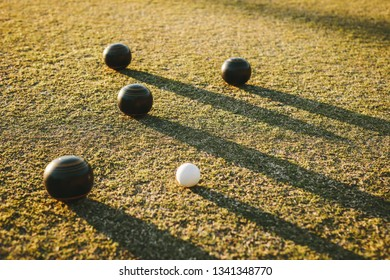 Close up of boules with their long shadows on the ground. Four black boules lying near a jack in a park.