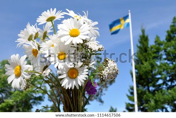 Close Bouquet Midsummer Flowers Swedish Flag Stock Photo Edit Now