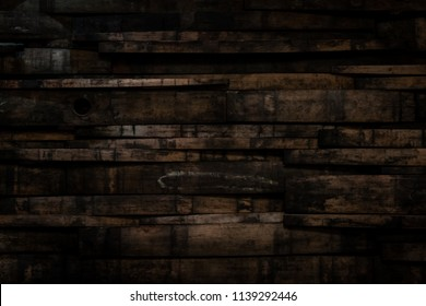 Close Up of Bourbon Barrel Stave Wall With Vignette Effect
