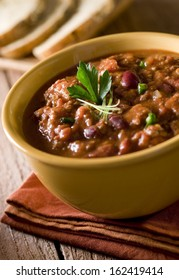 Close up of a bowl of chili con carne.