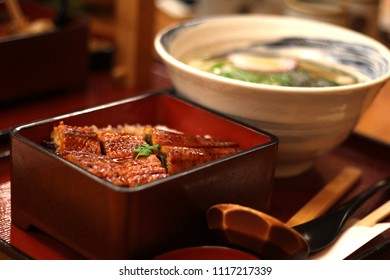 Close up of a bowl of eel fish rice and Japanese udon noodles in soup, Hakata, Fukuoka, Kyushu, Japan, Japanese Cuisine, Soft Focus