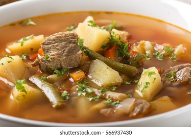 Close up of bowl of vegetable beef soup