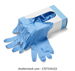 close up of a box of white latex protective gloves on white background