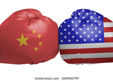 Close up of boxing gloves with China and United States flag symbols isolated on white background
