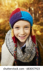 Close up of boy wearing warm clothing