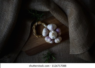 Close up of a braid of red Nubia garlic