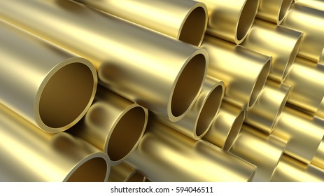 Close up of brass pipes 3d render