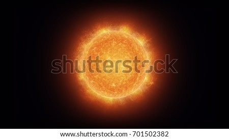 Close up of a bright, burning sun with glowing corona